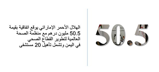 الهلال الأحمر الإماراتي يوقع اتفاقية بقيمة 50.5 مليون درهم مع منظمة الصحة العالمية